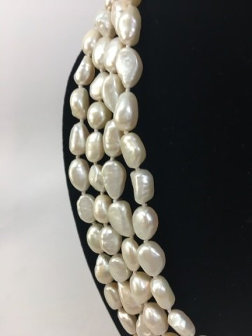 Pair 50 Inch White Baroque Pearl Necklace Strands - 6