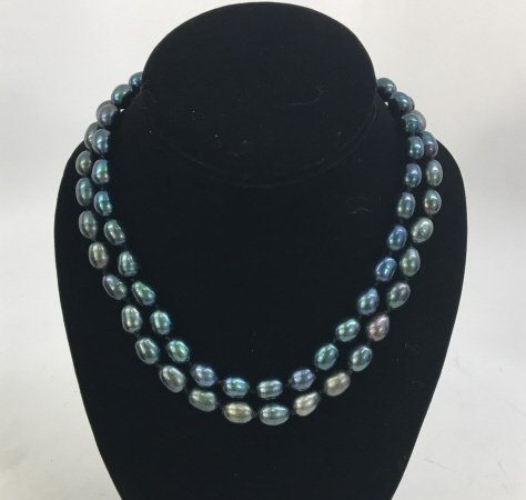 Pair Black Tahitian Baroque Pearl Necklace Strands