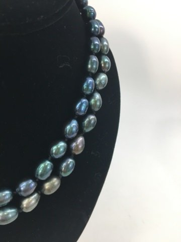 Pair Black Tahitian Baroque Pearl Necklace Strands - 2