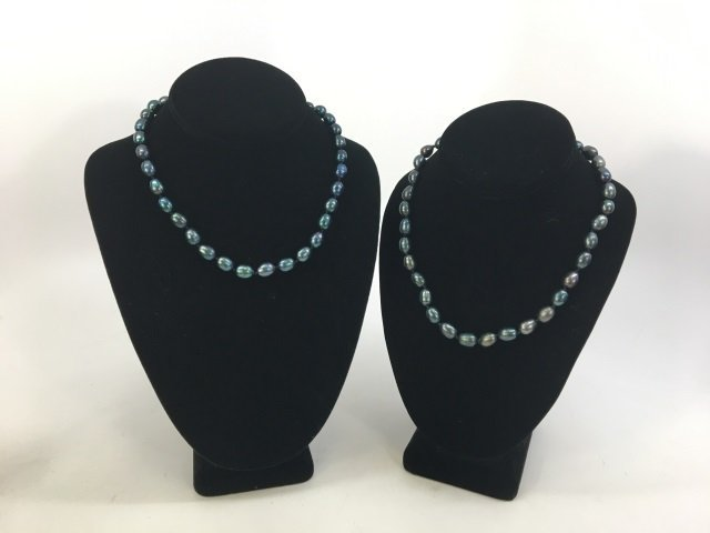 Pair Black Tahitian Baroque Pearl Necklace Strands - 4