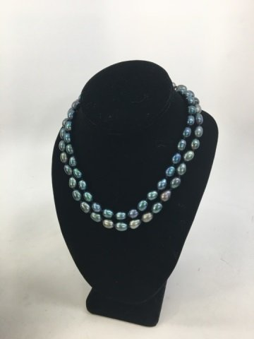 Pair Black Tahitian Baroque Pearl Necklace Strands - 5