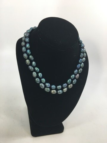 Pair Black Tahitian Baroque Pearl Necklace Strands - 6
