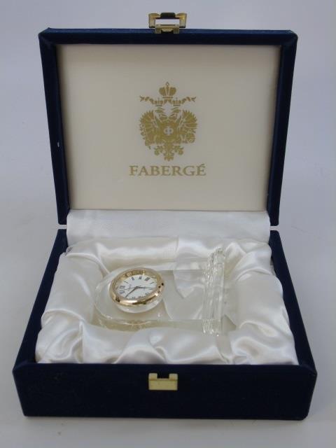 Faberge Glass Clock in Original Box - 6