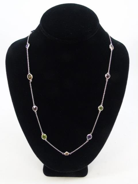 Sterling Silver Diamond by the Yard Style Necklace