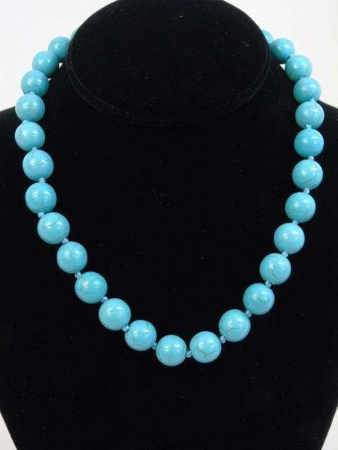 Native American Style Turquoise Bead Necklace - 3