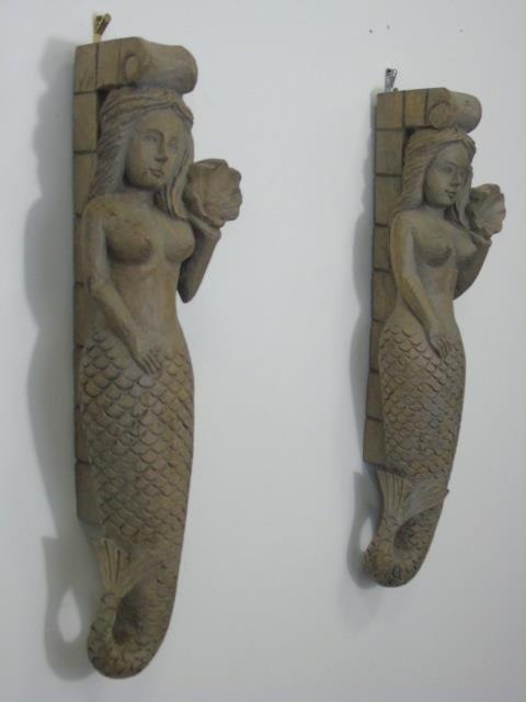 Pair Hand Carved Wood Nude Mermaid Corbels