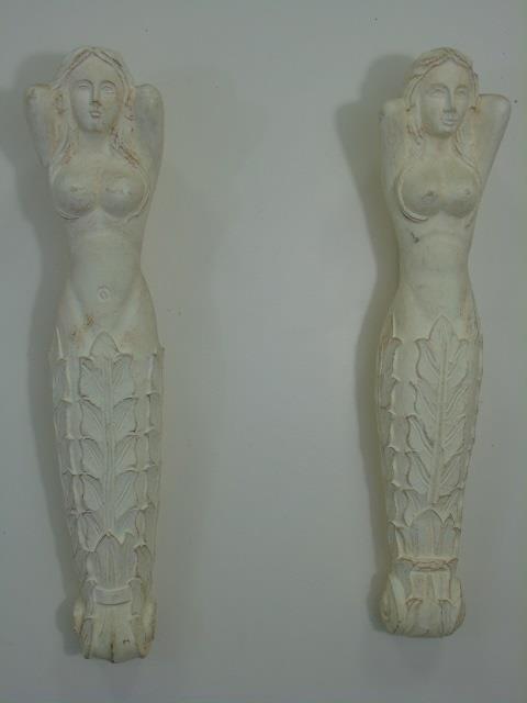 Pair Hand Carved Wood Nude Mermaid Corbels - 2