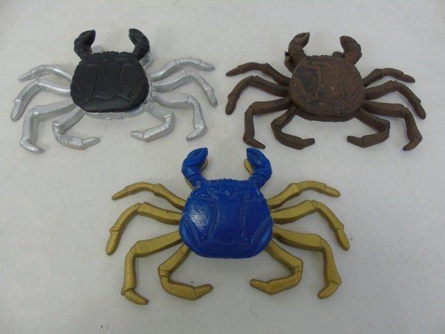 Three Hand Painted Metal Crab Motif Door Knockers