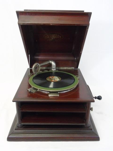 Vintage Carved Mahogany Gramophone Music Box