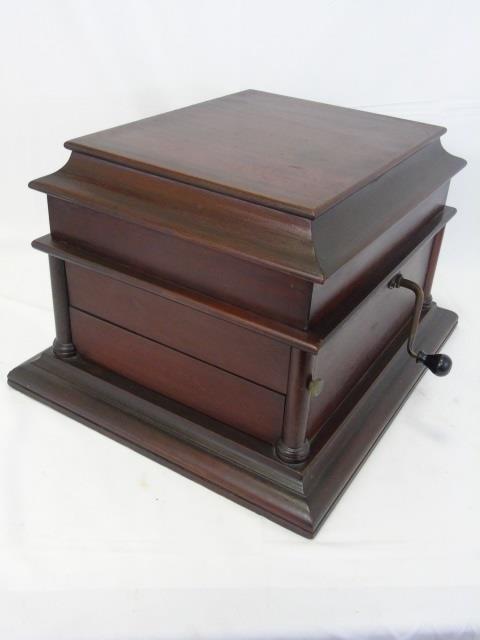Vintage Carved Mahogany Gramophone Music Box - 2