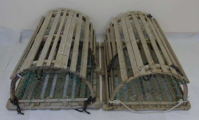 Two Vintage Wooden Lobster Traps