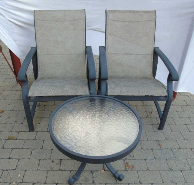 Pair Contemporary Patio / Deck Chairs & End Table