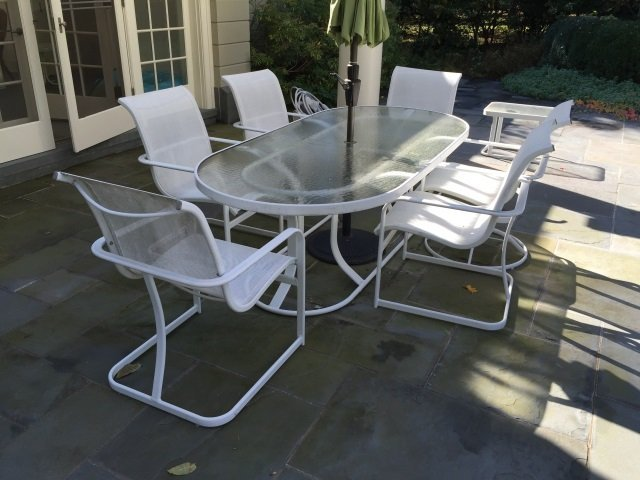 Patio / Deck Dining Table & Six Chairs w Umbrella - 2