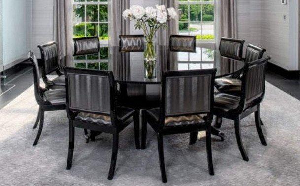 Contemporary Custom Made Round Black Dining Table