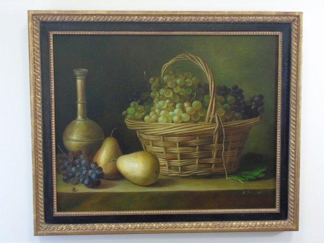 H Schmidt - Still Life Oil Painting Fruit & Wine