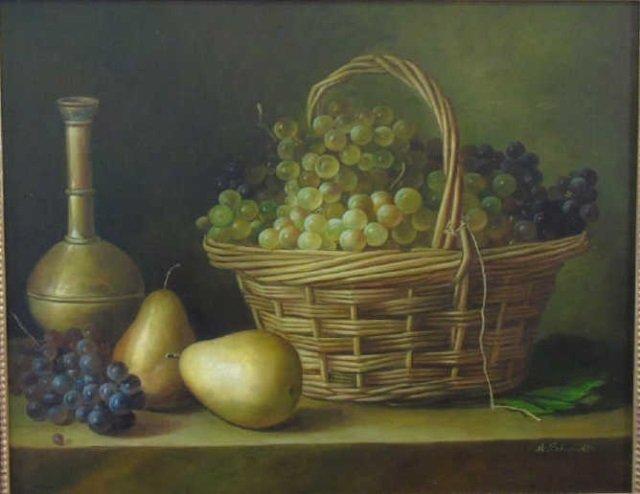 H Schmidt - Still Life Oil Painting Fruit & Wine - 2