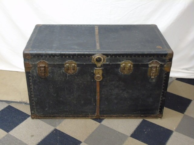 Antique C 1900 Black Leather Steamer Trunk