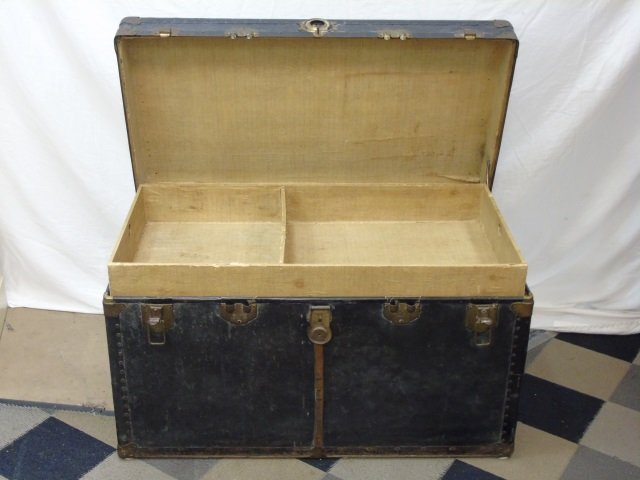 Antique C 1900 Black Leather Steamer Trunk - 3