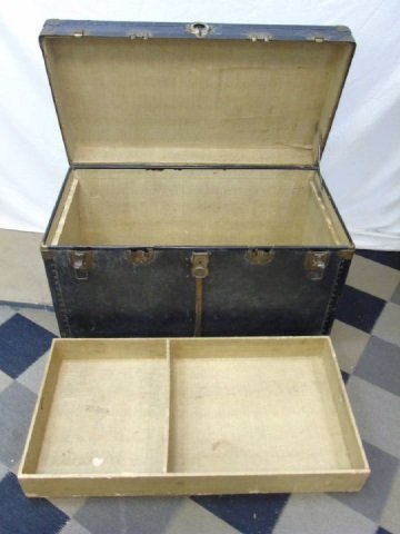 Antique C 1900 Black Leather Steamer Trunk - 4