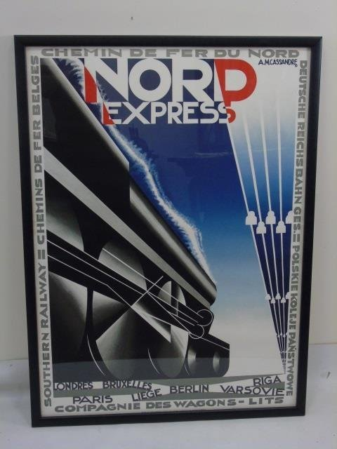 Pair Framed Vintage French Train Railroad Posters - 3