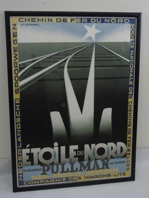 Pair Framed Vintage French Train Railroad Posters - 6