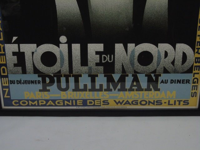 Pair Framed Vintage French Train Railroad Posters - 7