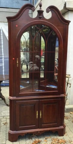 Chippendale Style Mahogany Corner Curio Cabinet