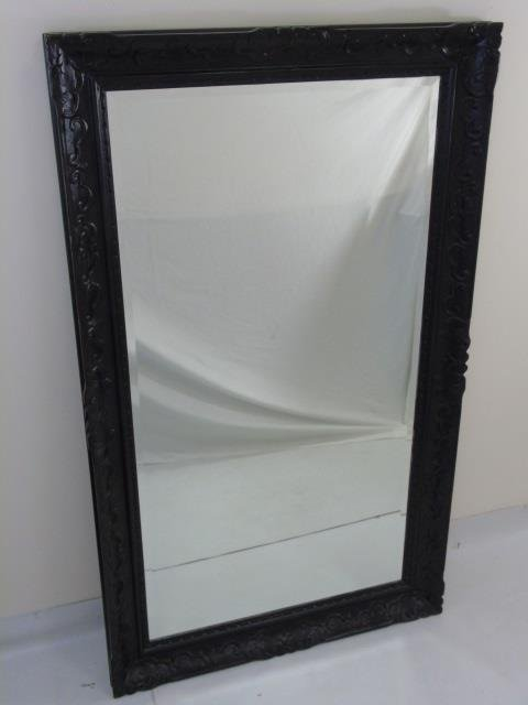 Large Black Painted Carved Wood Mirror Frame