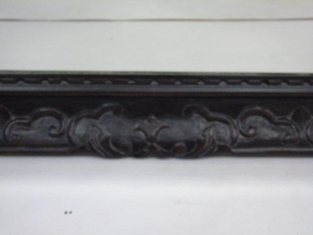 Large Black Painted Carved Wood Mirror Frame - 2