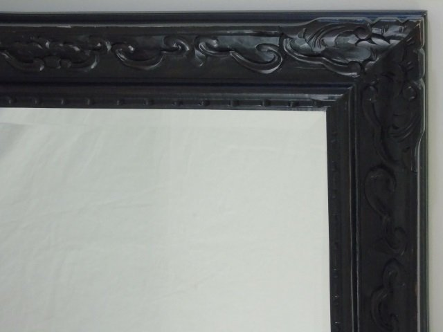 Large Black Painted Carved Wood Mirror Frame - 3