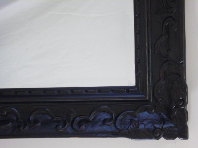 Large Black Painted Carved Wood Mirror Frame - 4