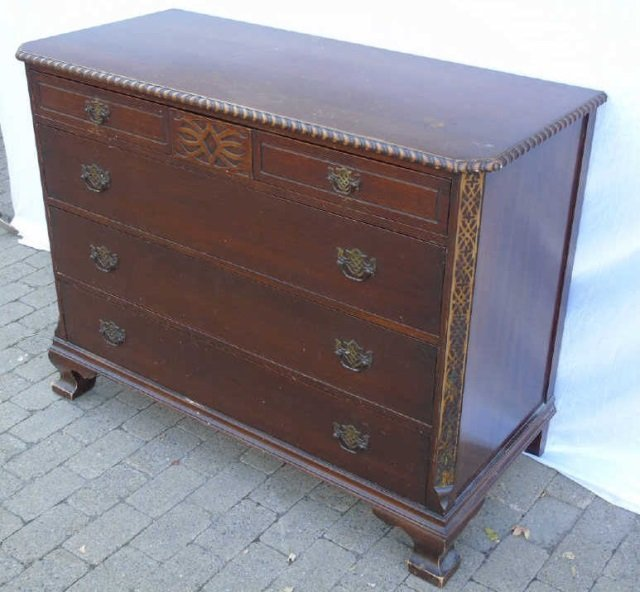 Georgian Style Mahogany Carved Chest of Drawers