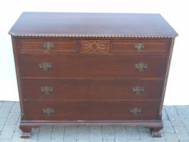 Georgian Style Mahogany Carved Chest of Drawers - 2