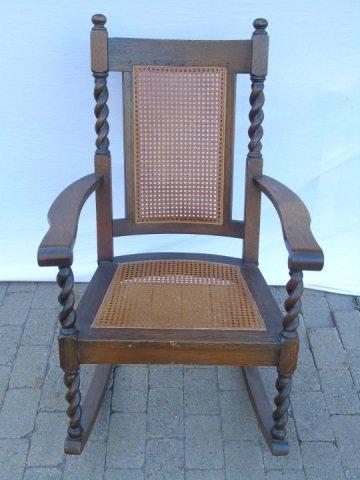 Antique Barley Twist Rush Seat Rocking Arm Chair