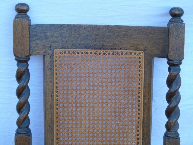 Antique Barley Twist Rush Seat Rocking Arm Chair - 2
