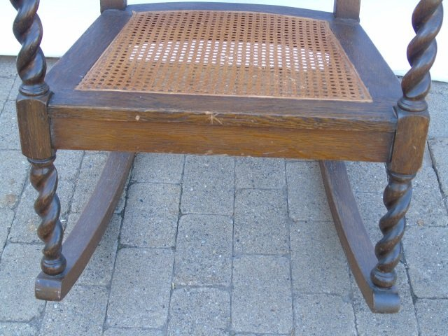 Antique Barley Twist Rush Seat Rocking Arm Chair - 3