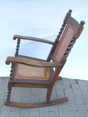 Antique Barley Twist Rush Seat Rocking Arm Chair - 4