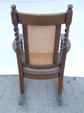Antique Barley Twist Rush Seat Rocking Arm Chair - 5