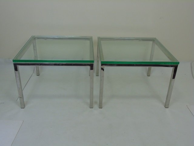 Pair Bauhaus Style Glass & Metal Side Tables