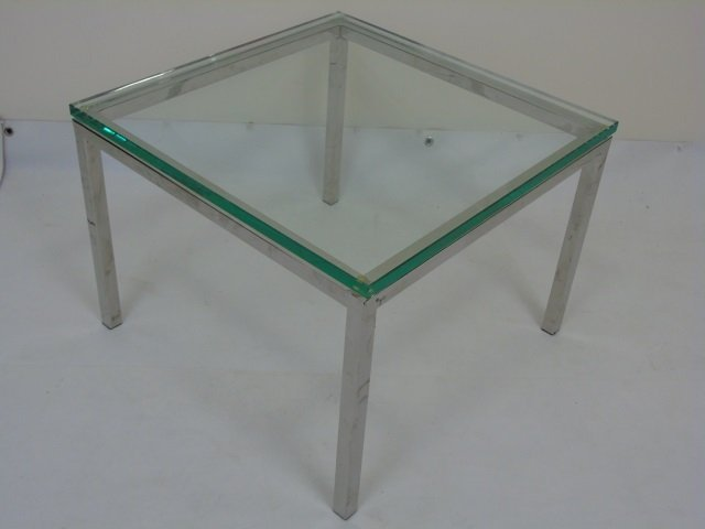 Pair Bauhaus Style Glass & Metal Side Tables - 2