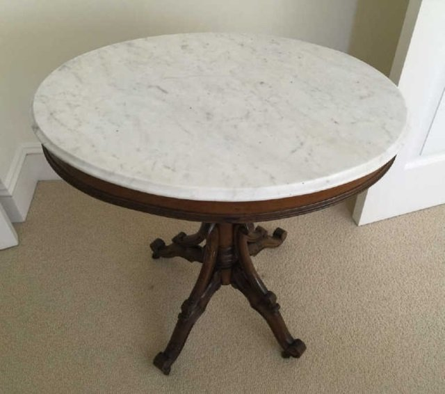 Antique 19th C Victorian Oval Marble Top End Table