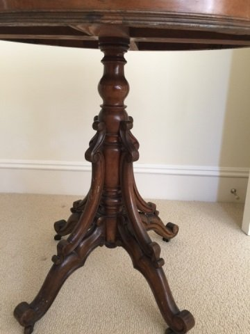 Antique 19th C Victorian Oval Marble Top End Table - 4