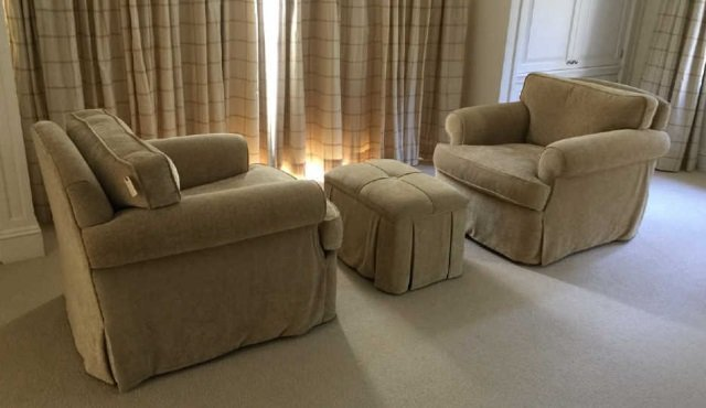 Pair Custom Contemporary Armchairs w Ottoman Bench