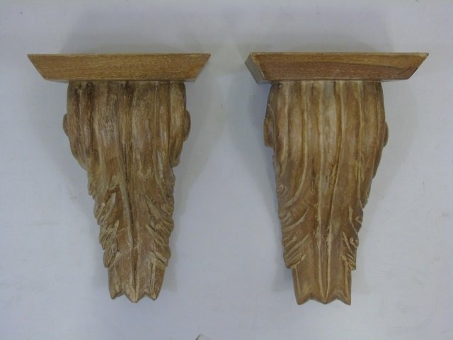 Pair Carved Wood Wall Bracket Shelves