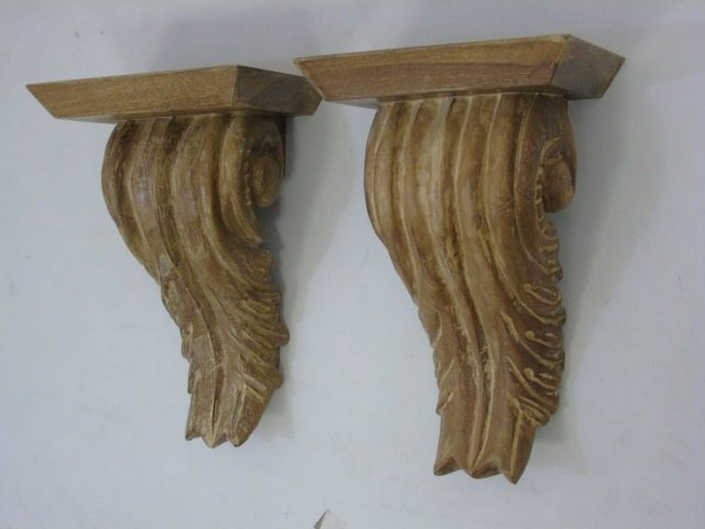 Pair Carved Wood Wall Bracket Shelves - 2