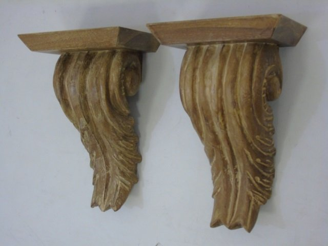Pair Carved Wood Wall Bracket Shelves - 3