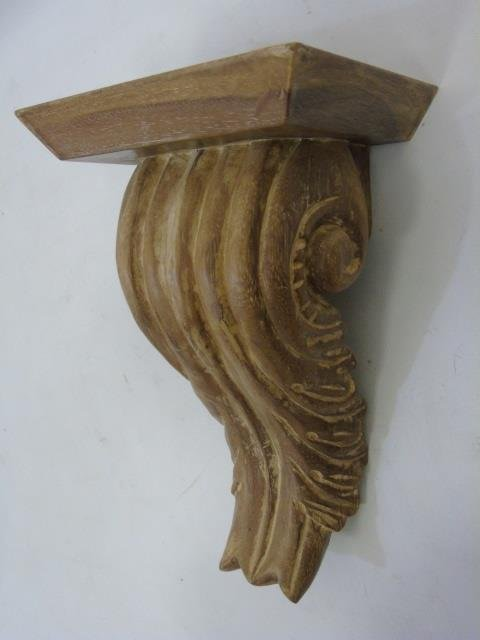Pair Carved Wood Wall Bracket Shelves - 4