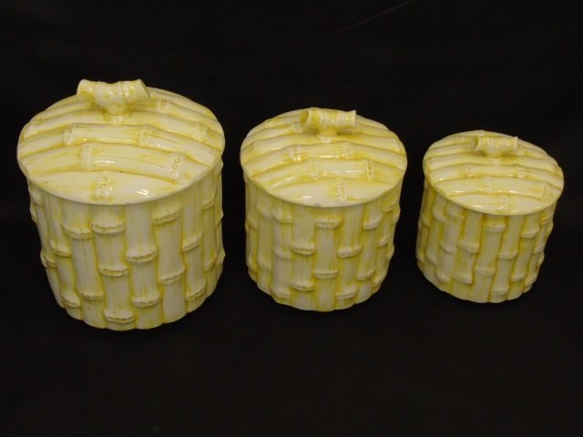 Set of Three Vintage Faux Bamboo Cookie Jars