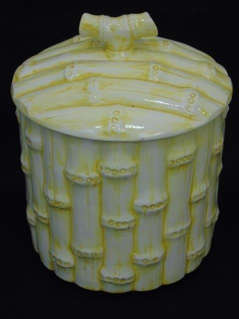 Set of Three Vintage Faux Bamboo Cookie Jars - 2