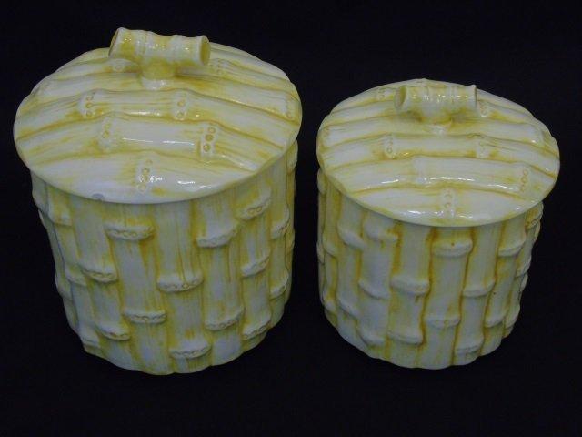 Set of Three Vintage Faux Bamboo Cookie Jars - 3